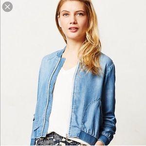 Cloth & Stone denim cropped bomber jacket